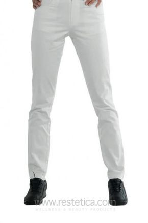 Woman white pants super stretch