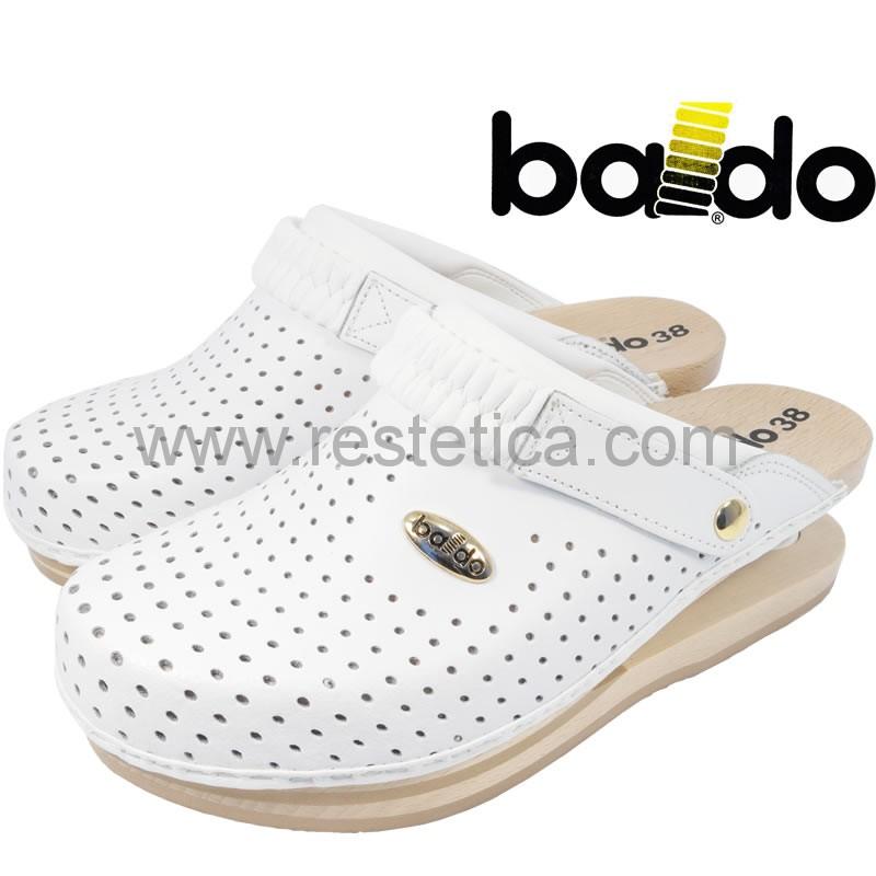 Zoccolo Baldo 5/13 Bianco forati con imbottitura sul collo e appoggio piede su legno