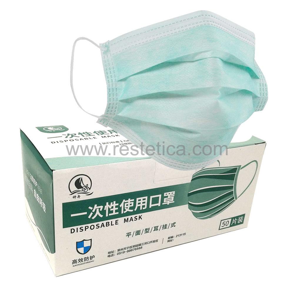 Mascherina usa e getta a 3 veli con elastico taglia unica - confezione da 50 pezzi