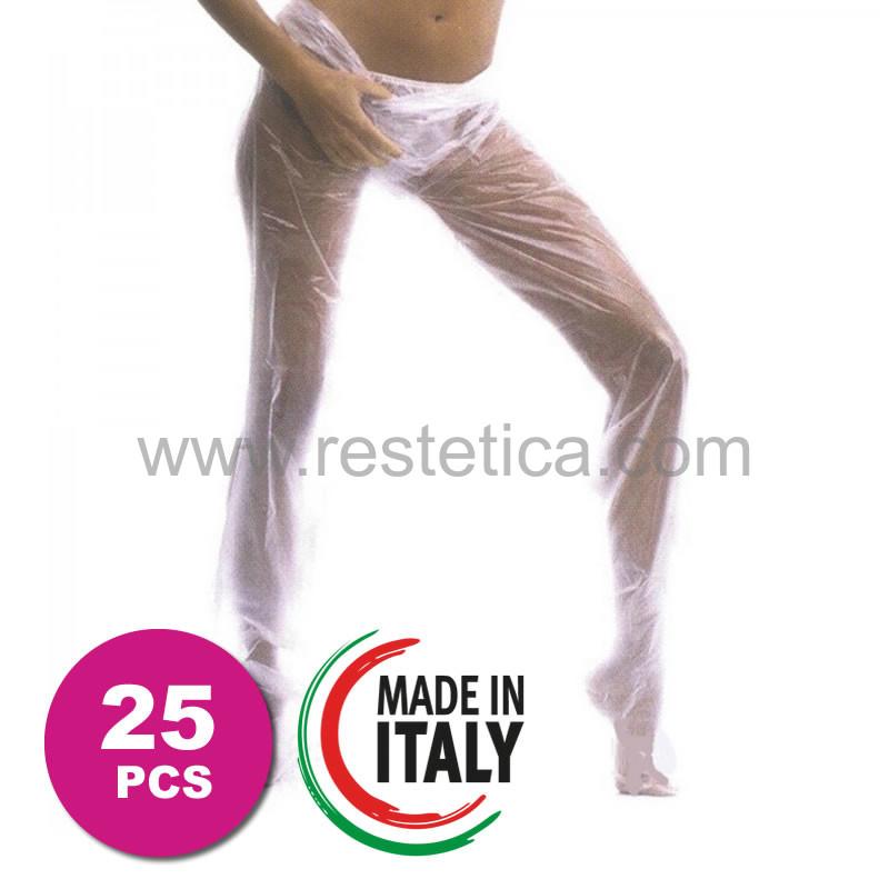 Pantalone monouso in polietilene per pressoterapia e fanghi taglia unica - confezione da 25 pezzi