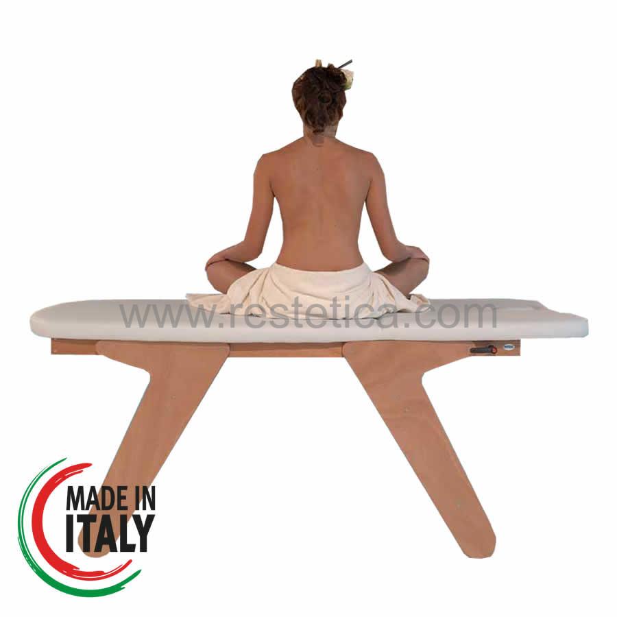 Lettino massaggio SPA in legno naturale dotato di schienale regolabile in altezza con bloccaggio a maniglia e foro viso