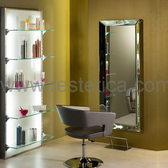 Espositore da parete per prodotti cosmetici con illuminazione interna