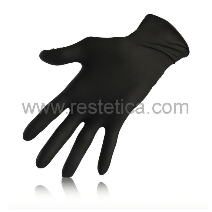 Guanto resistente in nitrile nero non talcato - confezione da 100 guanti