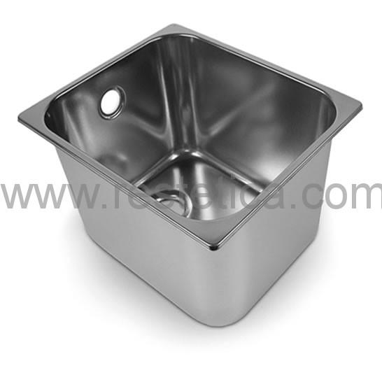 Lavandino rettangolare acciaio inox 18/10 CTP misure 30x24x20h cm