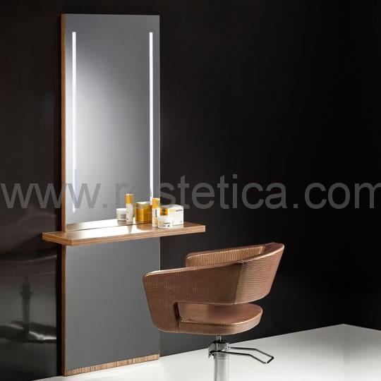 Specchio per parrucchiere con posto lavoro retroilluminato a luci LED