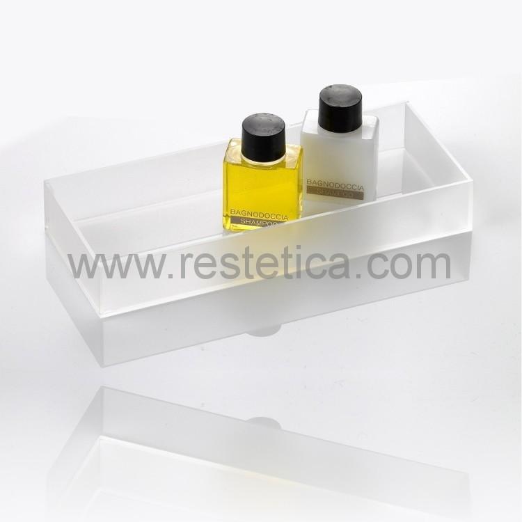 Vassoio satinato plexiglass rettangolare cm 20x8x3h