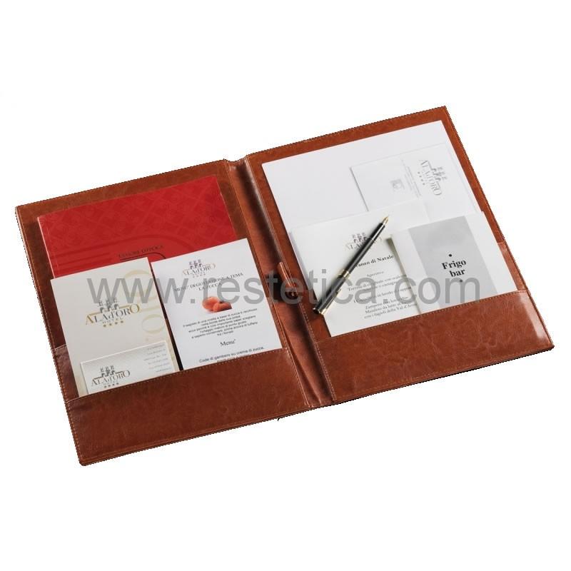 Cartellina corrispondenza rooms in similpelle rettangolare formato A4 cm.23x32