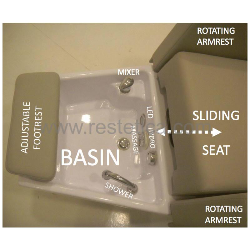 Poltrona Nilo Foot Basic dotata di vasca pedicure con doccetta
