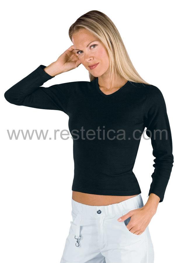 Maglietta donna manica lunga tessuto stretch nera 95% cotone  5% spandex 200 gr/m2 colore nero cod- RE125301