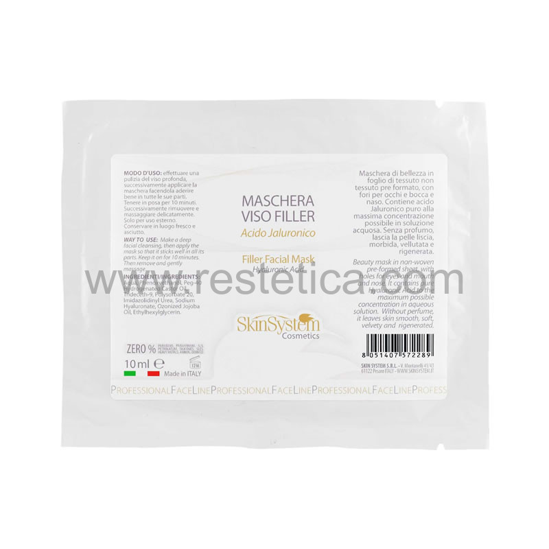 Maschera viso TNT imbevuta con soluzione all'acido jaluronico effetto filler SkinSystem - Confezione da 12 buste da 10ml