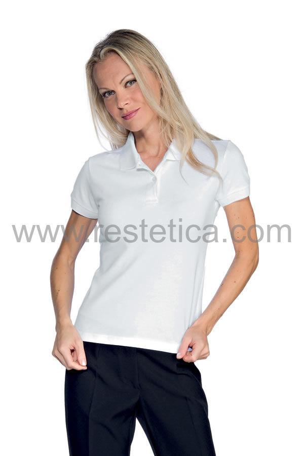 Polo donna mezza manica tessuto stretch bianca 95% cotone 200 gr/m2 colore bianco cod. - RE125100