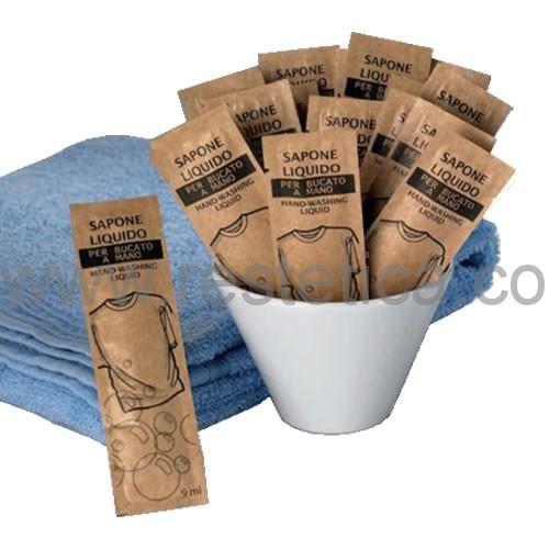 Detersivo per bucato a mano in bustina monodose da 9 ml, ideale per hotel, agriturismi, campeggi, centri di ospitalità, case di riposo - confezione da 150pz