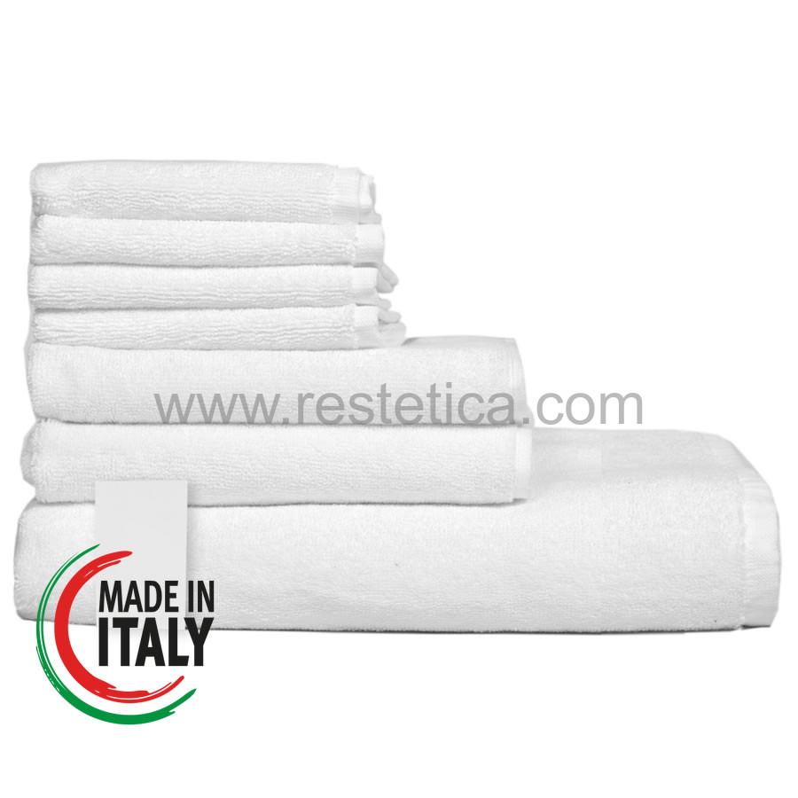 Set asciugamani da bagno composto da Telo 100x150cm + Asciugamano Viso 60x100cm + Ospite 40x60cm - Made in Italy