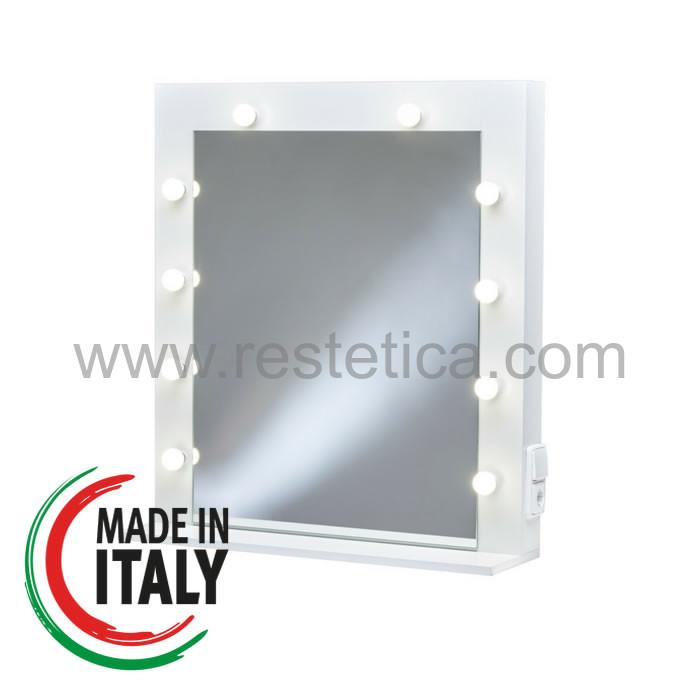 Specchio professionale per make up artists dotato di 10 lampadine a luce bianca