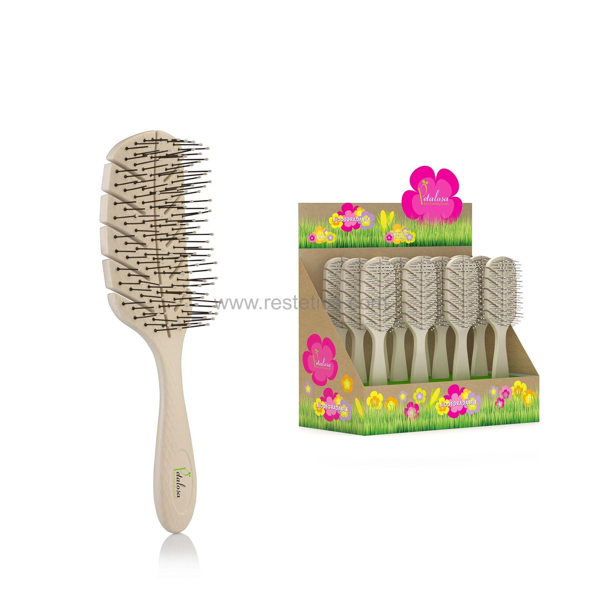 Espositore da banco Spazzole biodegradabie Petalosa all'amido di mais ideale per la rivendita - n.12 spazzole
