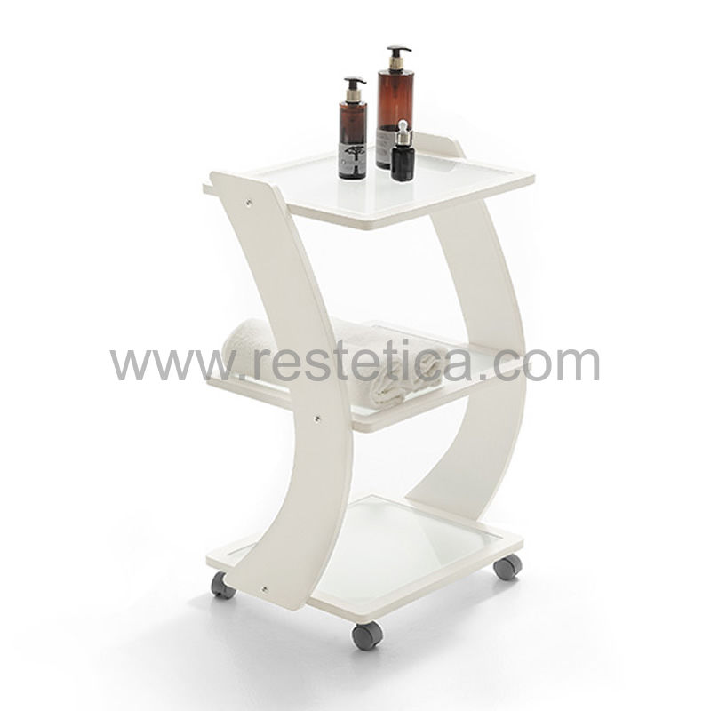 Trolley with three shelves made of plywood and with frosted glass shelves - dimensions 50x37x80h cm