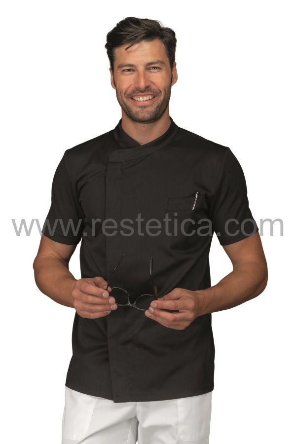 Casacca Uomo tessuto Jersey elasticizzato, fresco e traspirante a mezza manica Nero - cod. RE059111M