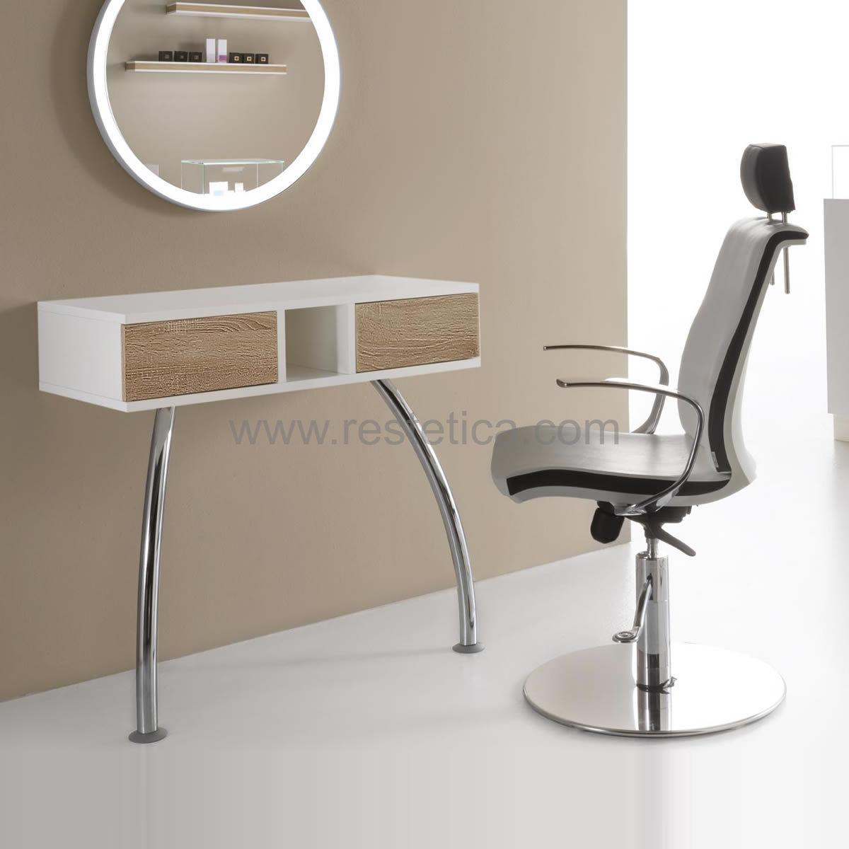 Postazione Beauty Corner MakeUP completa di poltrona trucco, mobile e specchio illuminato