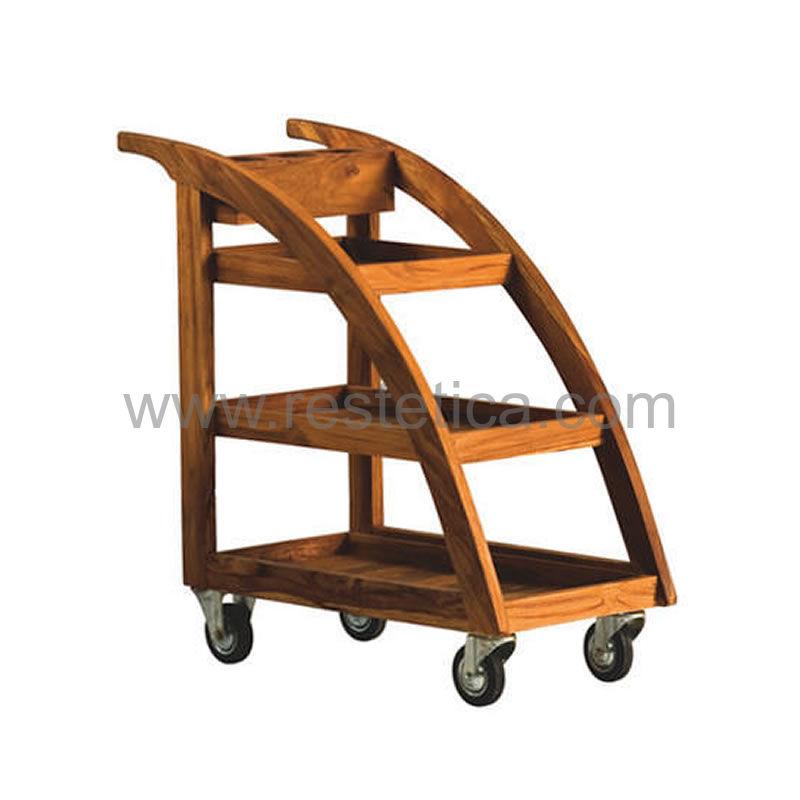 Carrello Nilo Sumba è il carrello in legno portaoggetti disponibile finitura teak e wengé