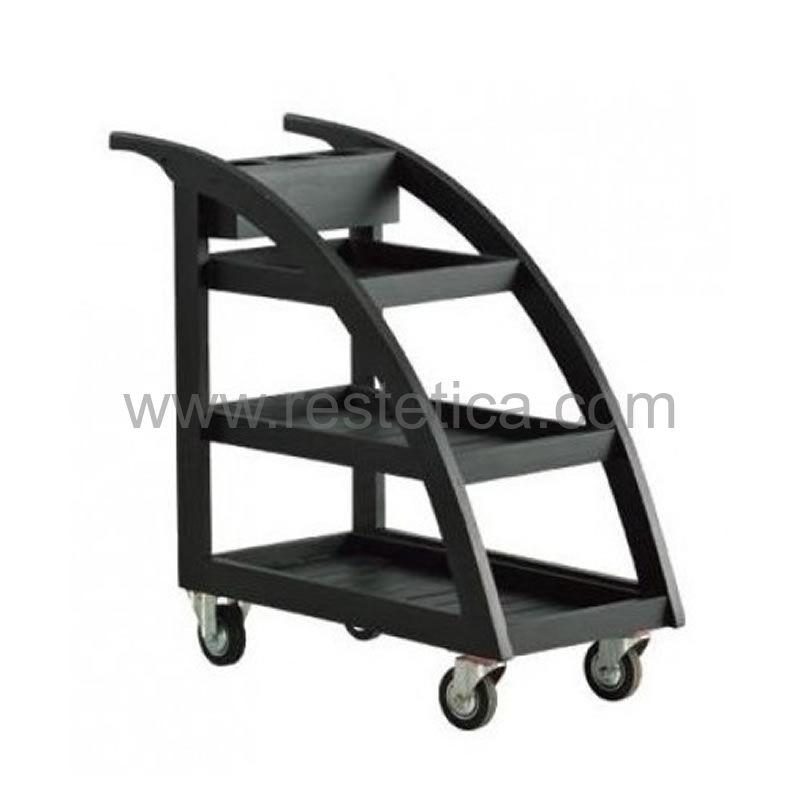 Wooden Okumè Cart  - with 3 service shelves