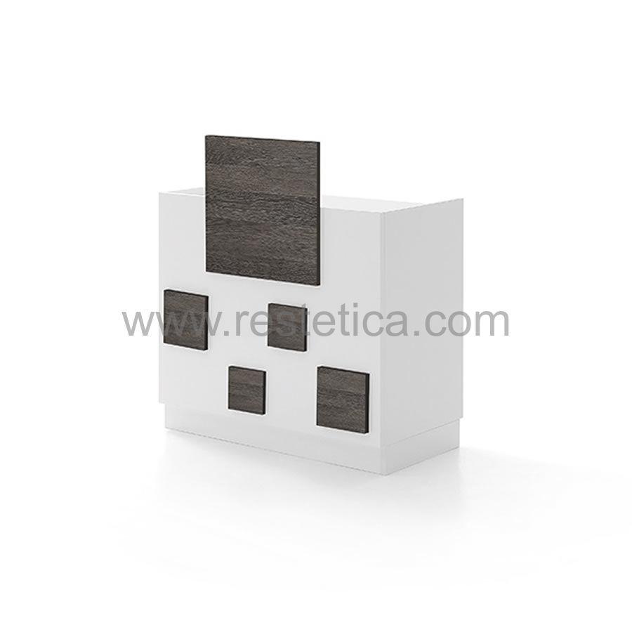 Banco Cassa modulare con frontali in legno e vetrine espositive - lunghezza da 100cm a 200cm