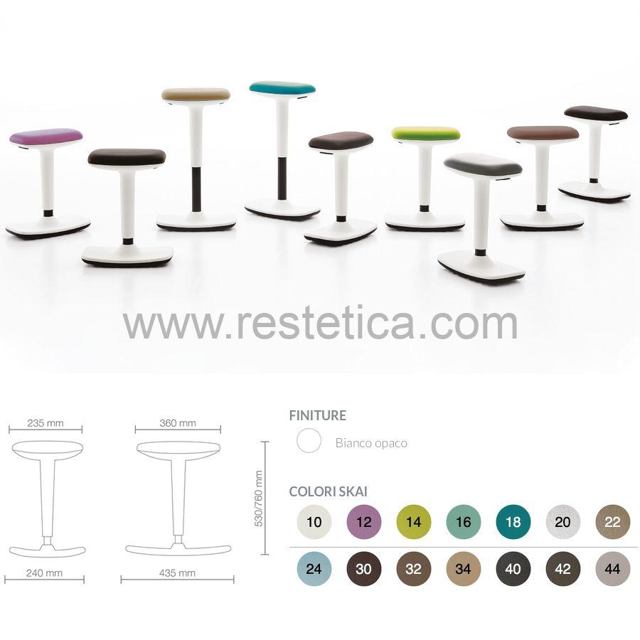 Sgabello oscillante Flex by Vismara regolabile in altezza da 53 a 76 cm