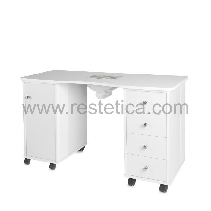 Manicure table with aspirator, table lamp and nail polish holder
