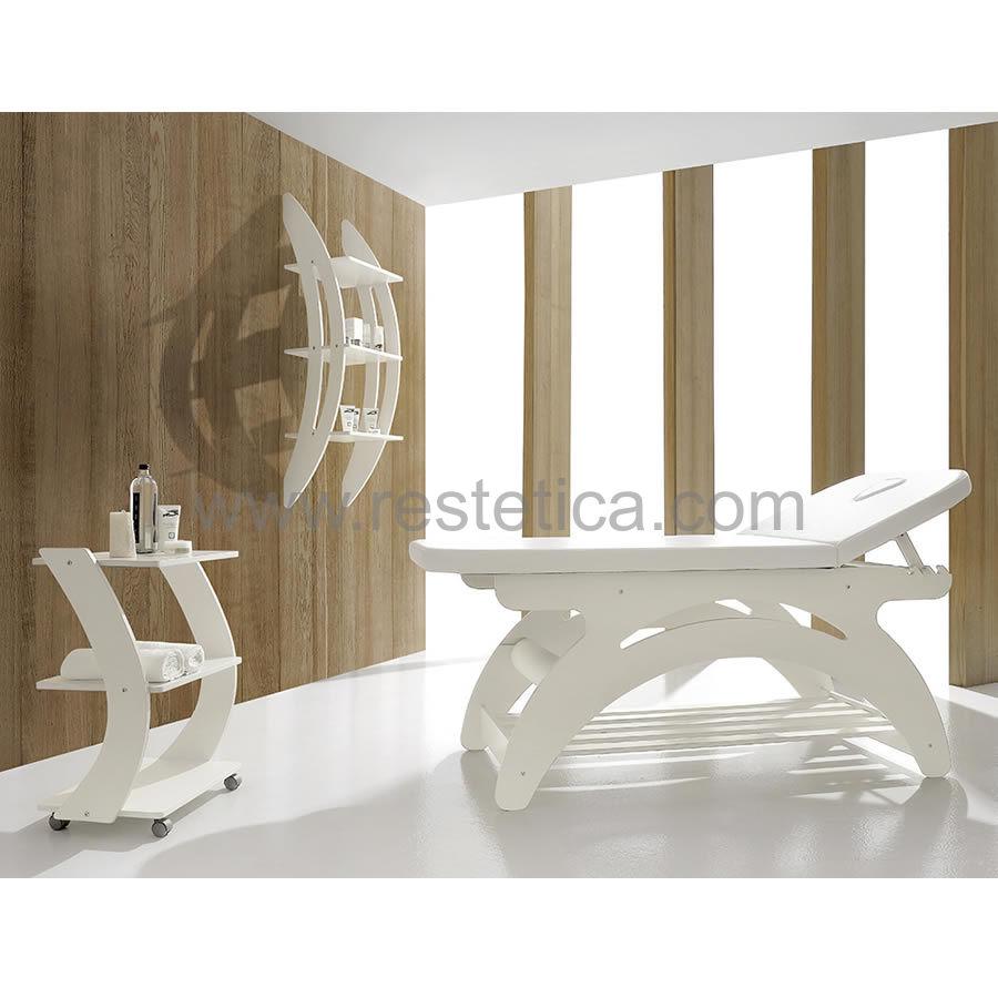 Lettino per massaggi Antias dotato di materasso con profilo sagomato, foro per viso porta rotolo e ripiano porta prodo