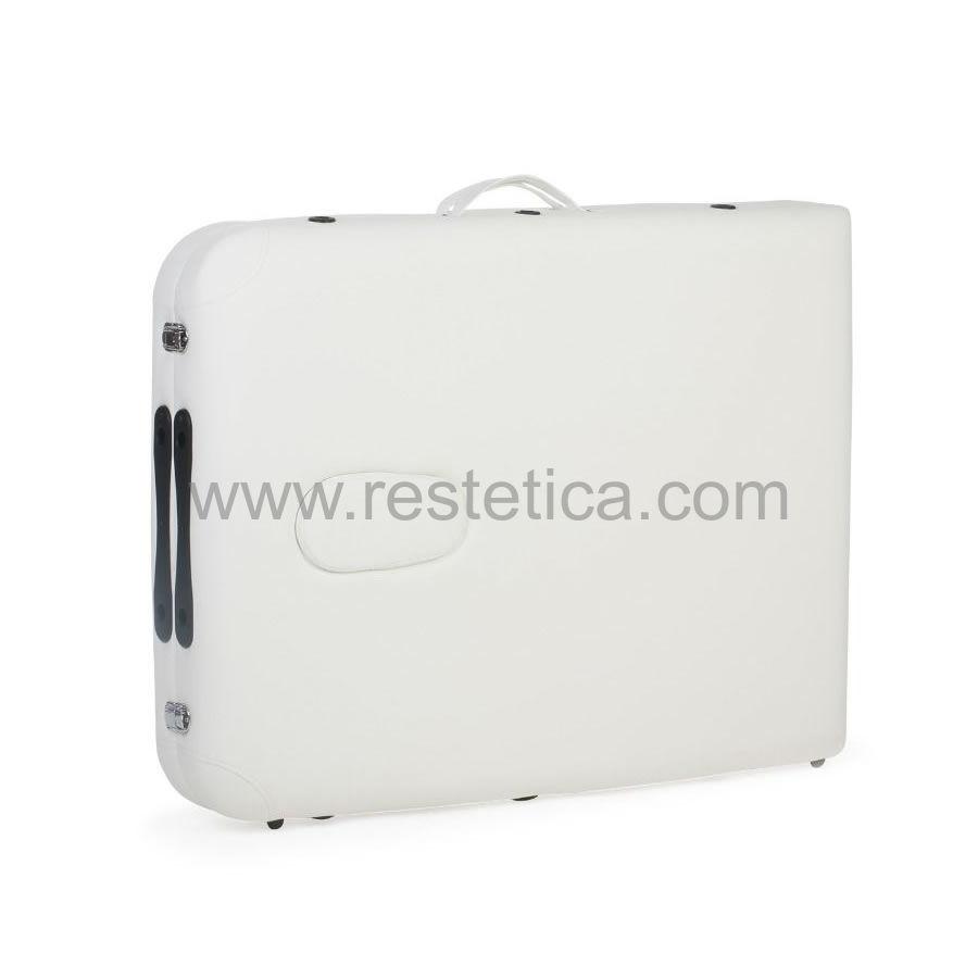 Lettino portatile per massaggio, struttura in alluminio regolabile in altezza, lo schienale è fisso e non regolabile nell'inclinazione