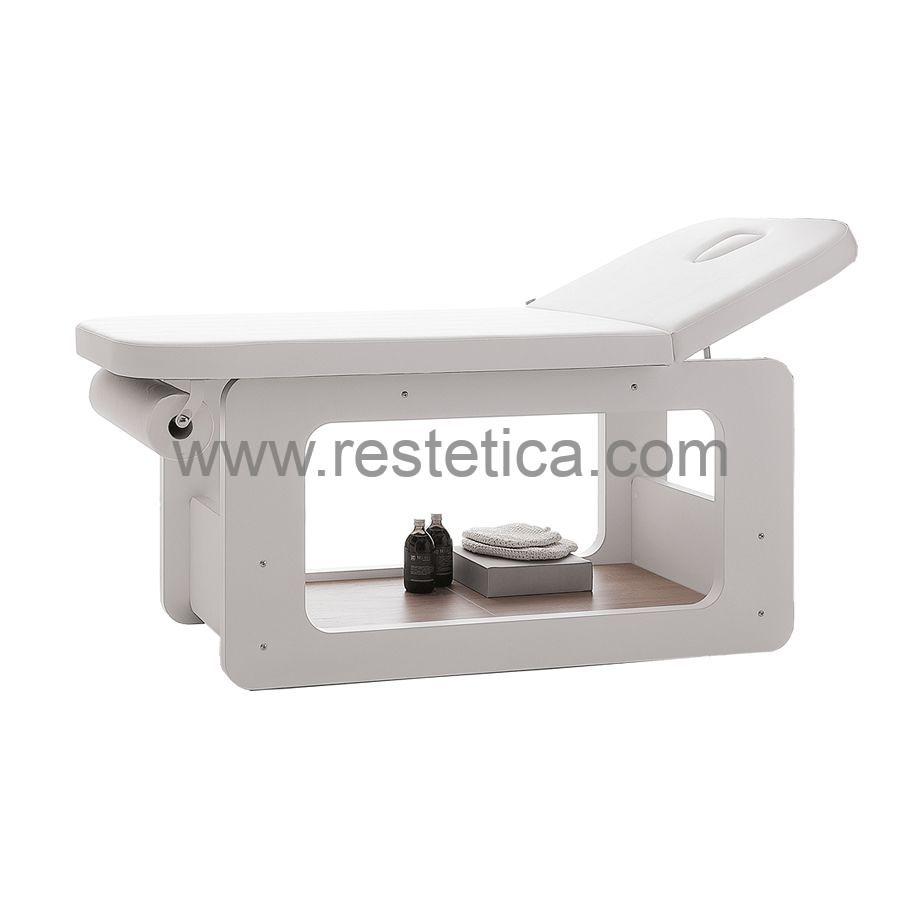 Lettino per massaggi Creo by Vismara con materasso skai bianco e foro facciale - Dimensioni 185x71xh77 cm
