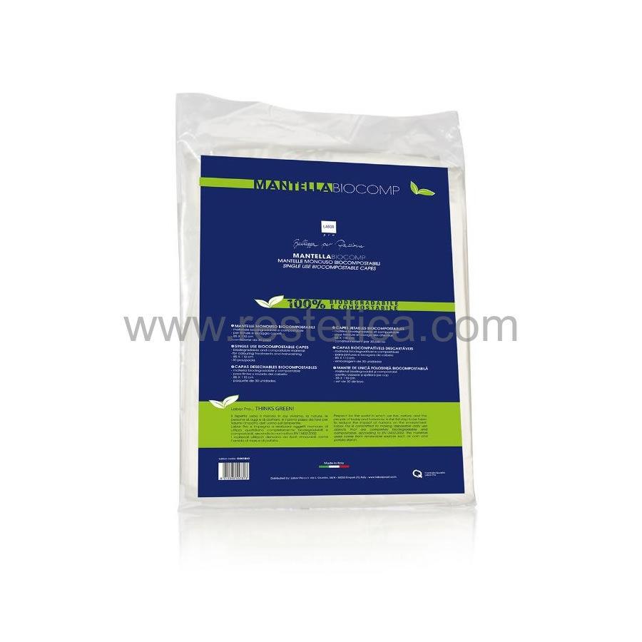 Mantella monouso biocompostabile per tagli, tinture e lavaggio capelli misura 85x110cm - confezione 30 mantelle