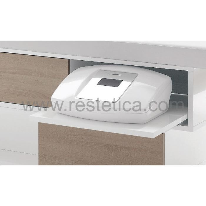 Lettino Vismara Swing  dotato di due cassetti, piano estraibile per macchinari e due vani espositivi per prodotti