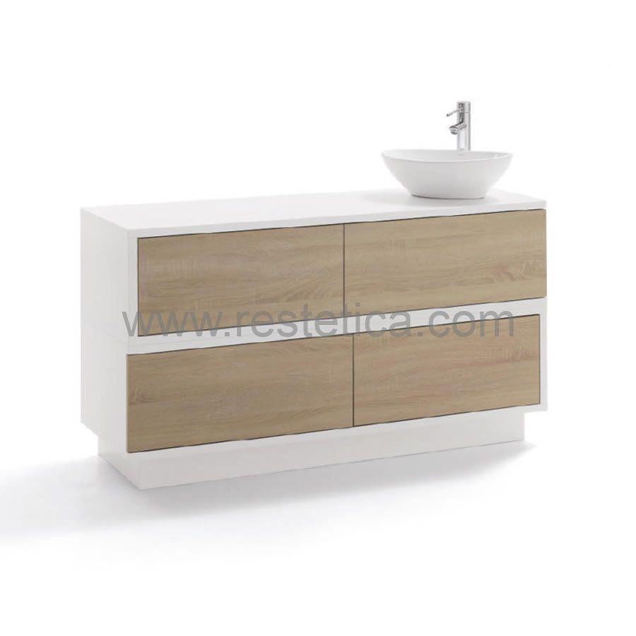 Mobile di servizio Swing by Vismara dotato di lavandino + tre cassetti con apertura push/pull