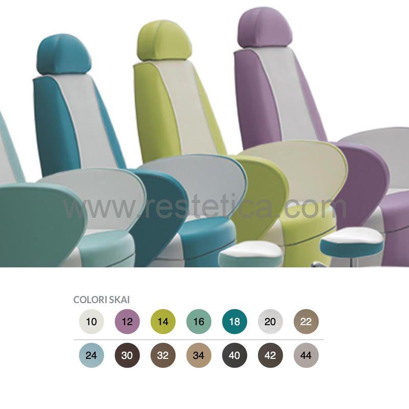 Poltrona podologica Vismara Podo Edge con ampia e comoda seduta personalizzabile in 14 colori