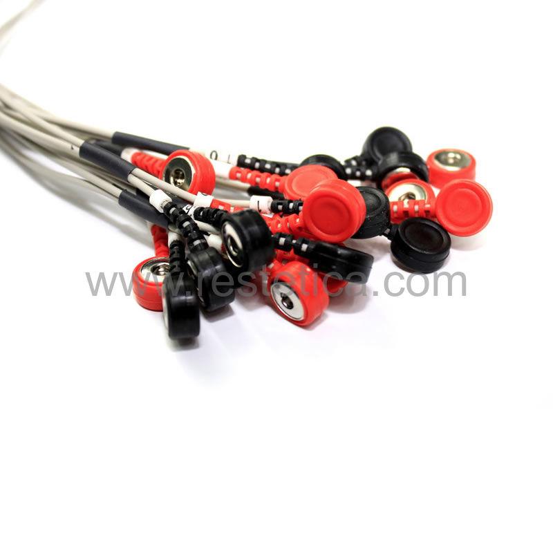 Cavi viso e corpo con clips, adattatori coccodrillo e fasce per elettrosculpture