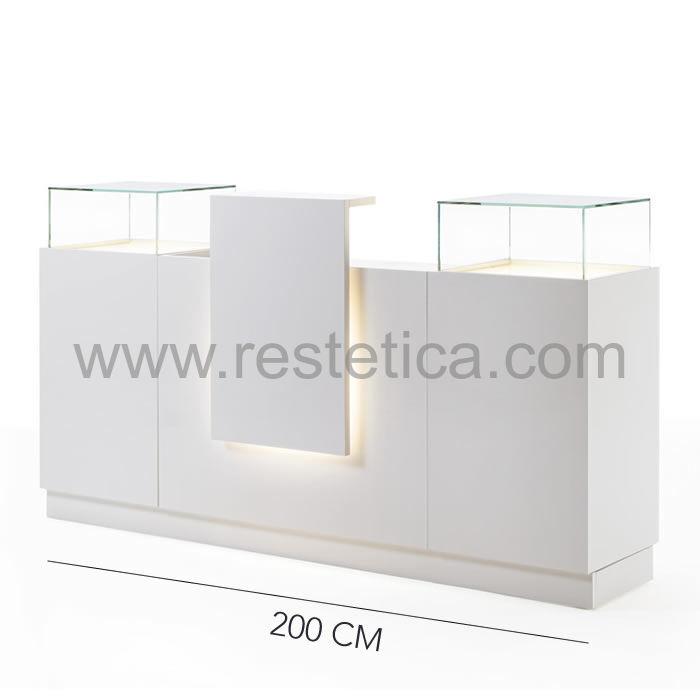 Banco Cassa in legno con piano in Cristallo satinato