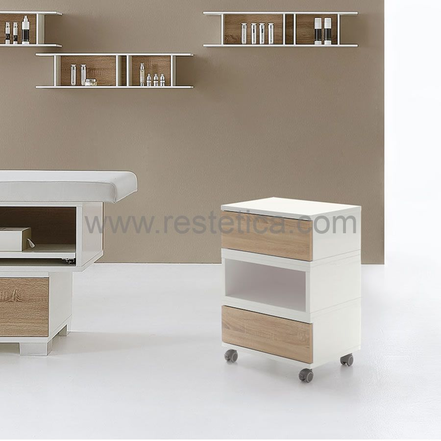 Trolley with two drawers and a central open compartment - dimensions 55x41x81h cm