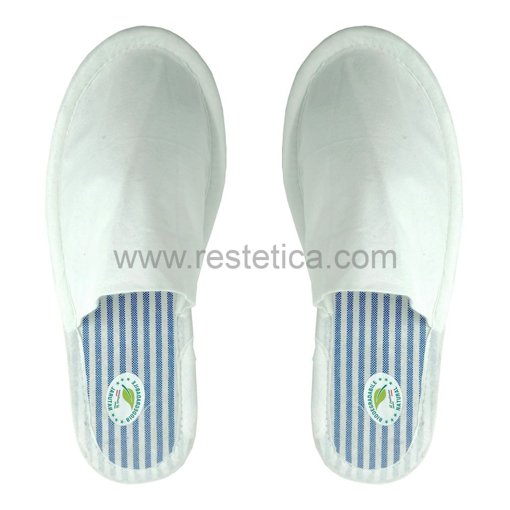 Eco-Bio BLUE biodegradable slipper with wood pulp sole and bamboo viscose upper