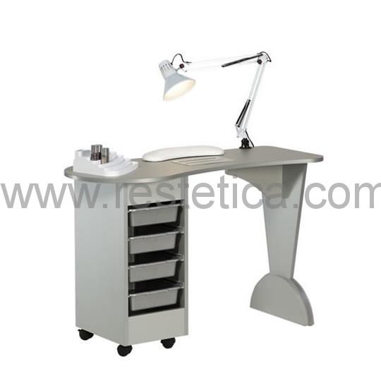 Tavolo manicure con struttura in legno personalizzabile completo di aspiratore, lampada, cuscino e porta smalti.