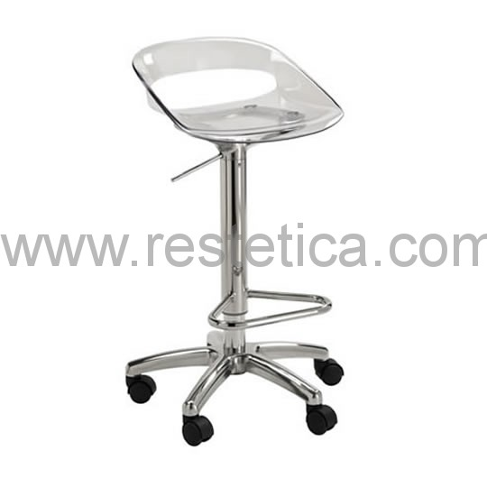 Plexiglas stool with gas pump