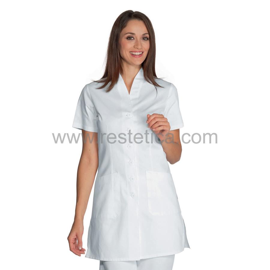 Casacca bianca con bottoni e pratiche tasche in cotone 100% - dalla S alla XXL