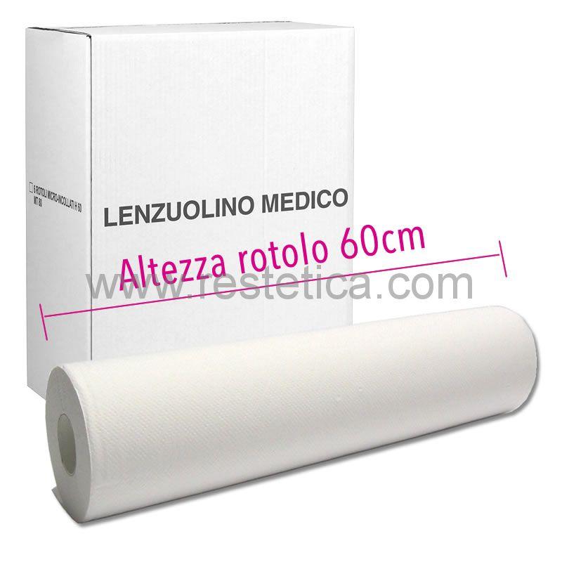 Lenzuolino medico in pura cellulosa altezza 60cm per 80m di lunghezza - scatola 6 rotoli imbustati singolarmente