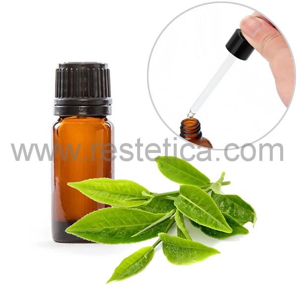 Olio essenziale puro al tea tree in boccetta da 10ml con contagocce