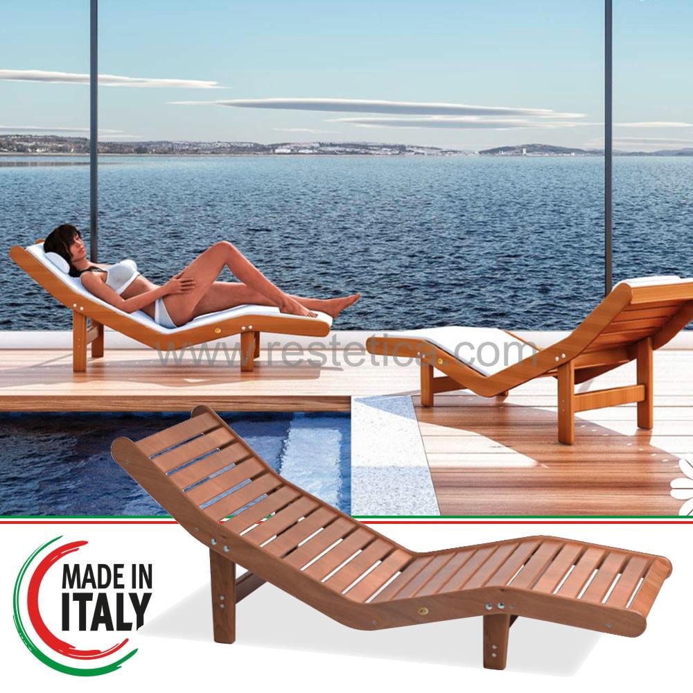 Chaise Longue sdraio in Betulla resistente all'umidità ed alle alte temperature ideale per zone termali e piscine di Hotel