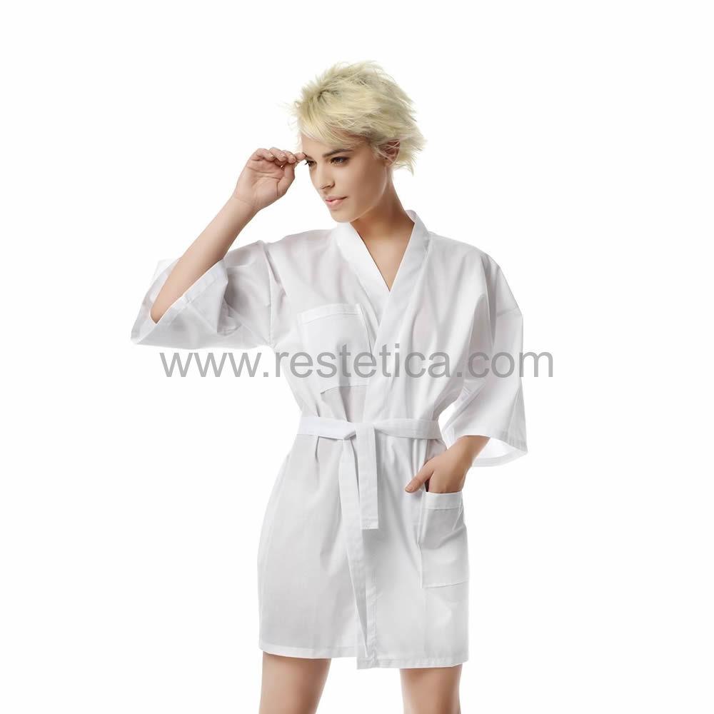 Kimono Cliente corto 35% Cotone - 65% Polyestere tessuto candeggiabile taglia unica colore bianco