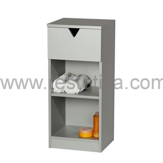 Mobiletto in legno con 2 ripiani e 1 cassetto