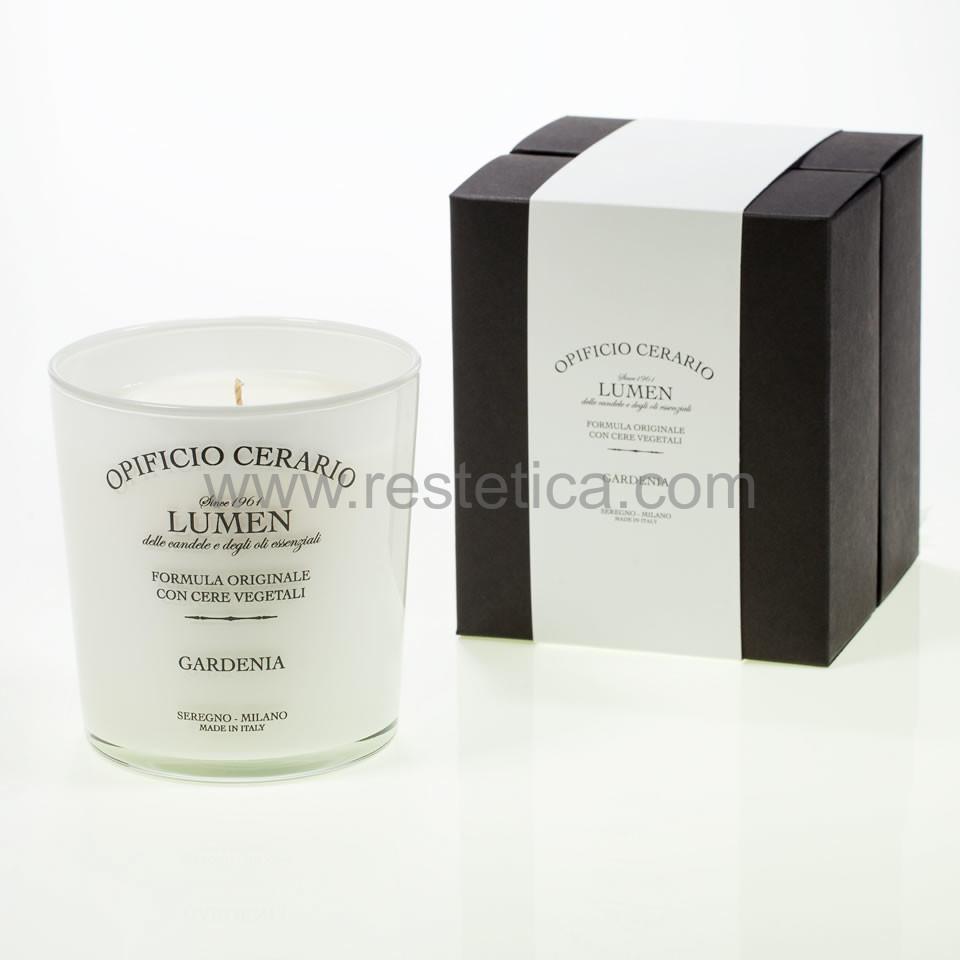 Candela aromatica alla Gardenia in bicchiere verniciato lucido con serigrafia, in confezione regalo - 300ml per 100 ore di durata