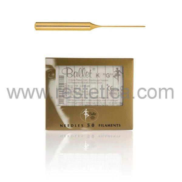 Aghi Ballet monouso K5 ORO 24k 0.125mm ideali per l'elettrodepilazione di ascelle, cosce e parti intime  - Confezione da 50 aghi