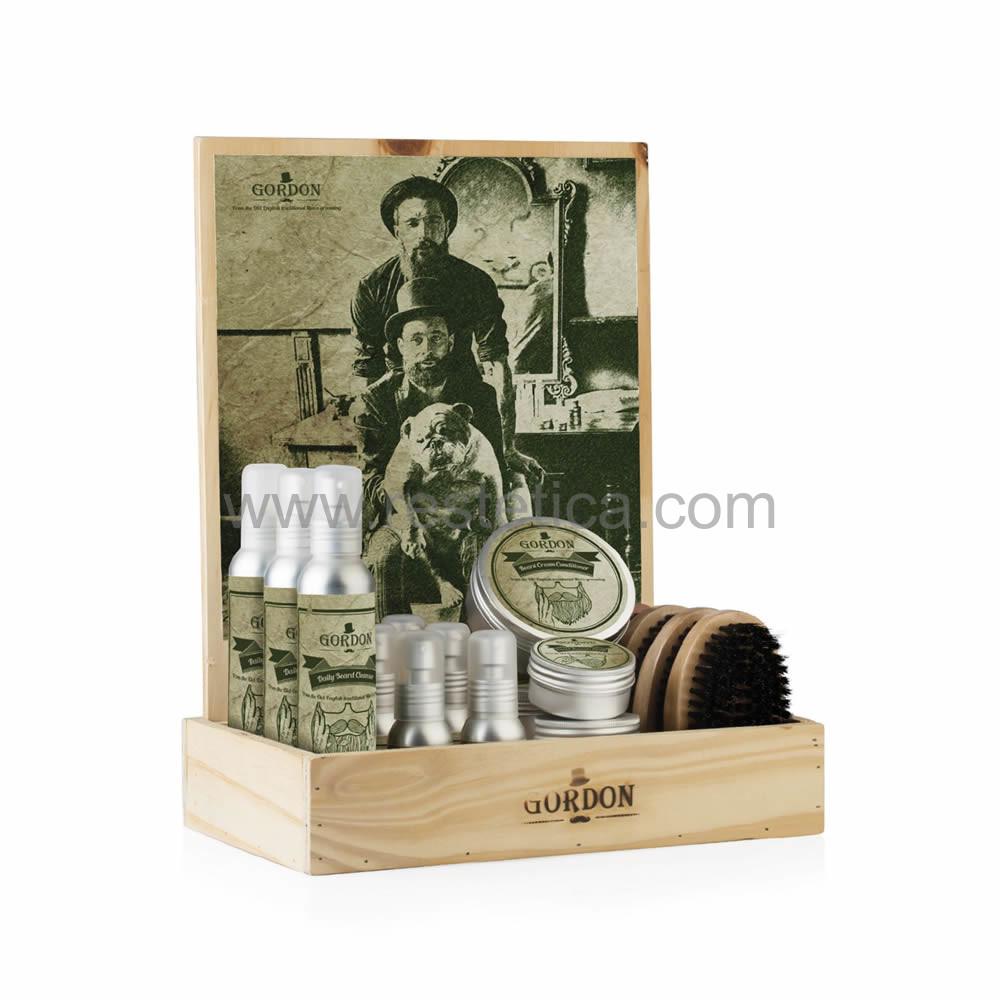 Espositore da banco Gordon per la cura della barba e baffi ideale per la rivendita nel tuo negozio