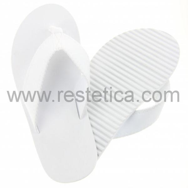Infradito Flip-Flop per piscina con suola antiscivolo di 10mm in EVA colore bianco neutra